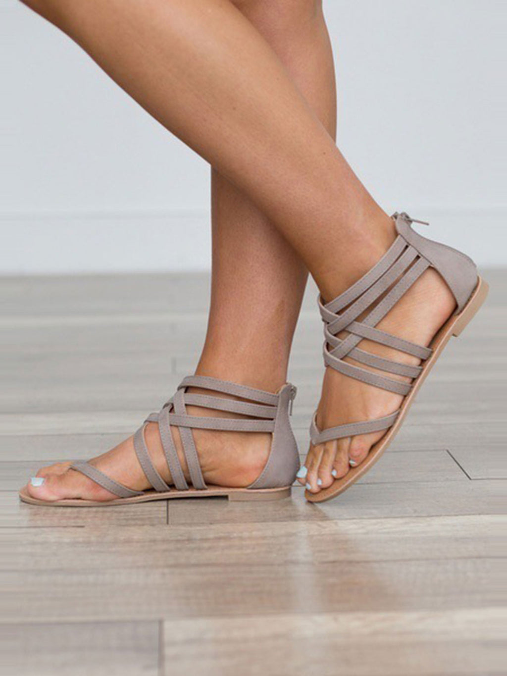 Solid Color Cross Strap Thong Sandals