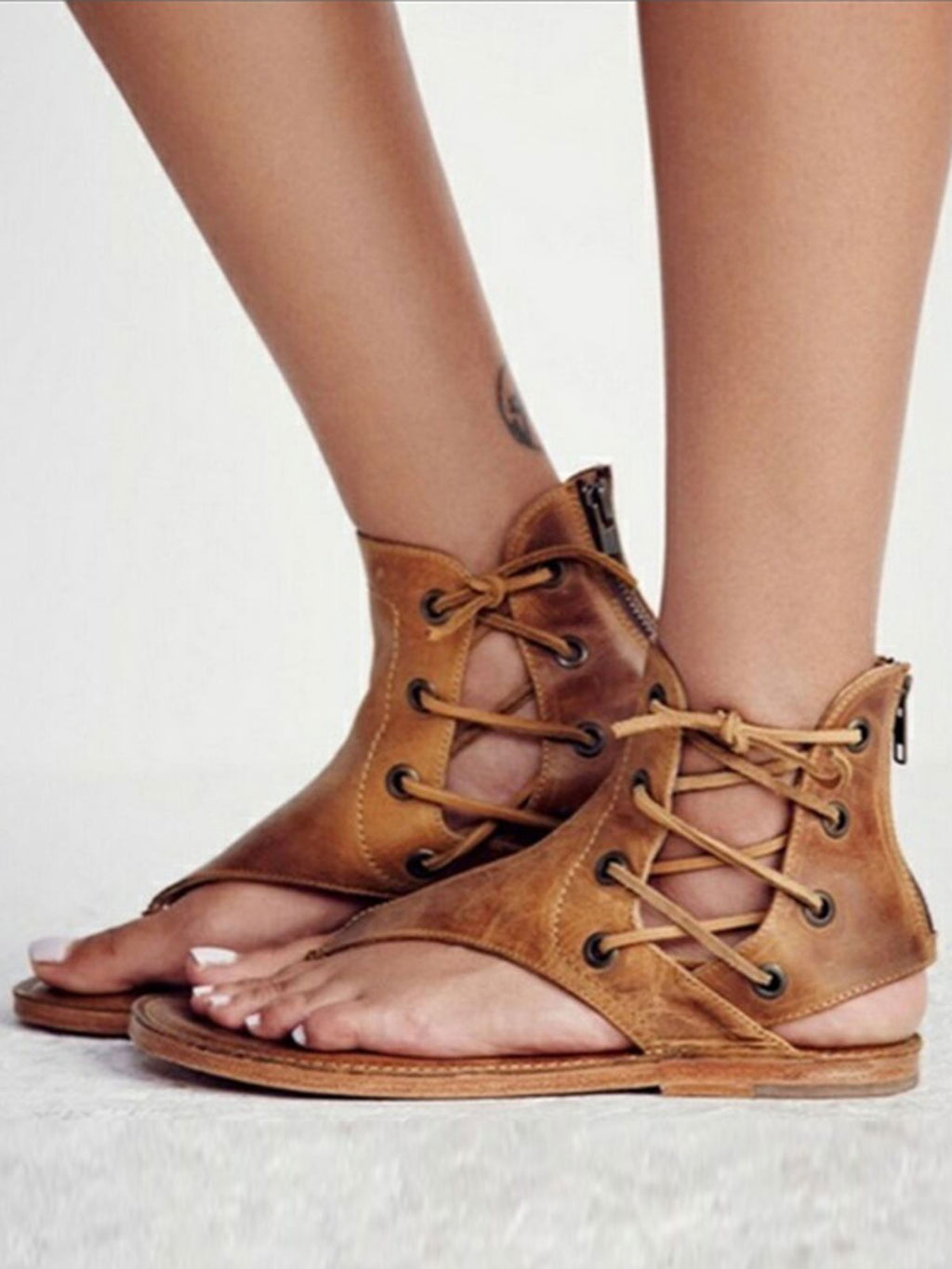 Solid Color Thong Lace-Up Flat Sandals