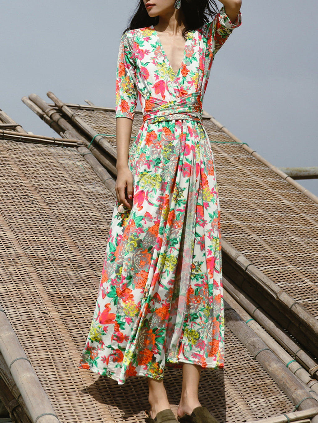 Resort V Neck A-line Printed Cotton-blend Maxi Dress