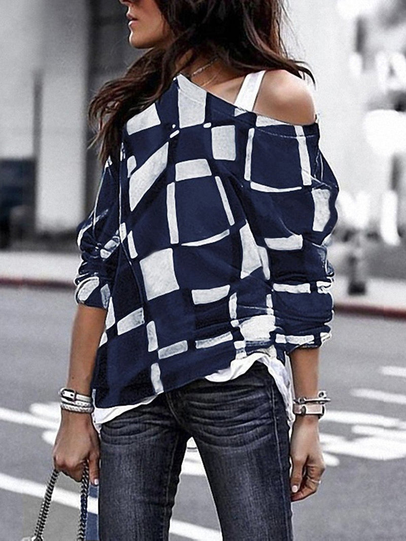 Long Sleeve Vintage Geometric Cotton Tops