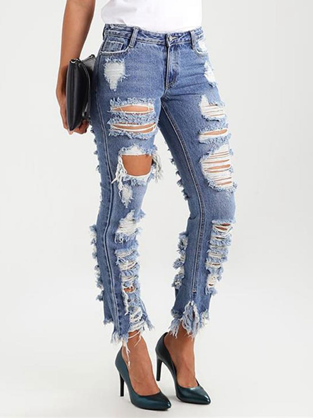 Hole Worn Pocket Straight Women's  Jeans