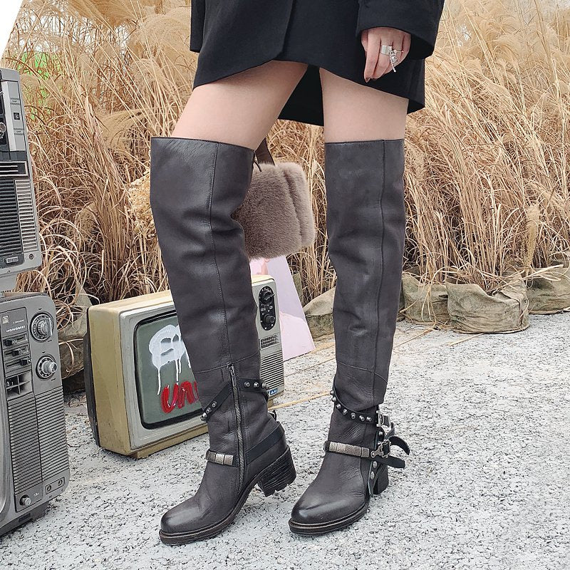 Zipper Pu Block Heel Daily Boots