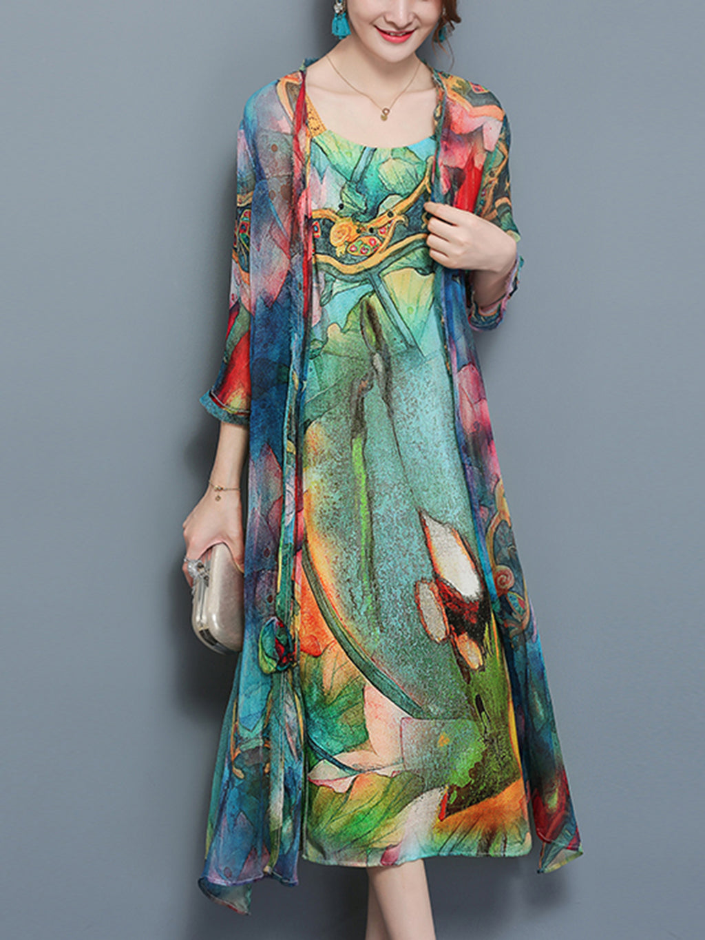 Two-piece set Green Vintage Casual Crew Neck Maxi Dress