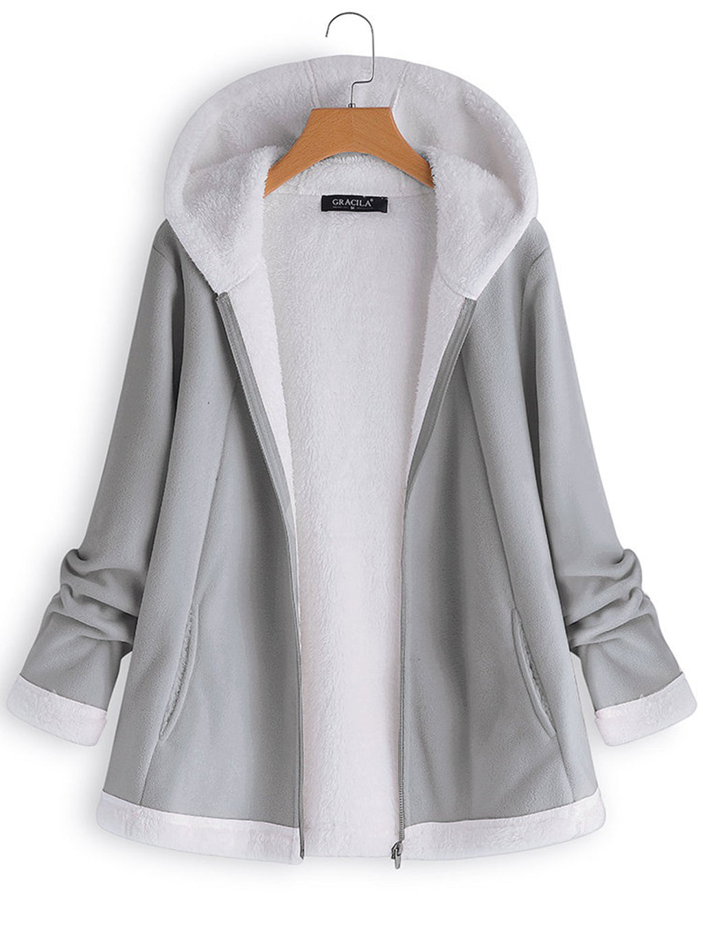 Women's Casual Hooded Zipper Long Sleeve Fleece Coats