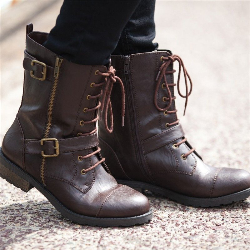 Women Daily Faux Leather Low Heel Zipper Boots