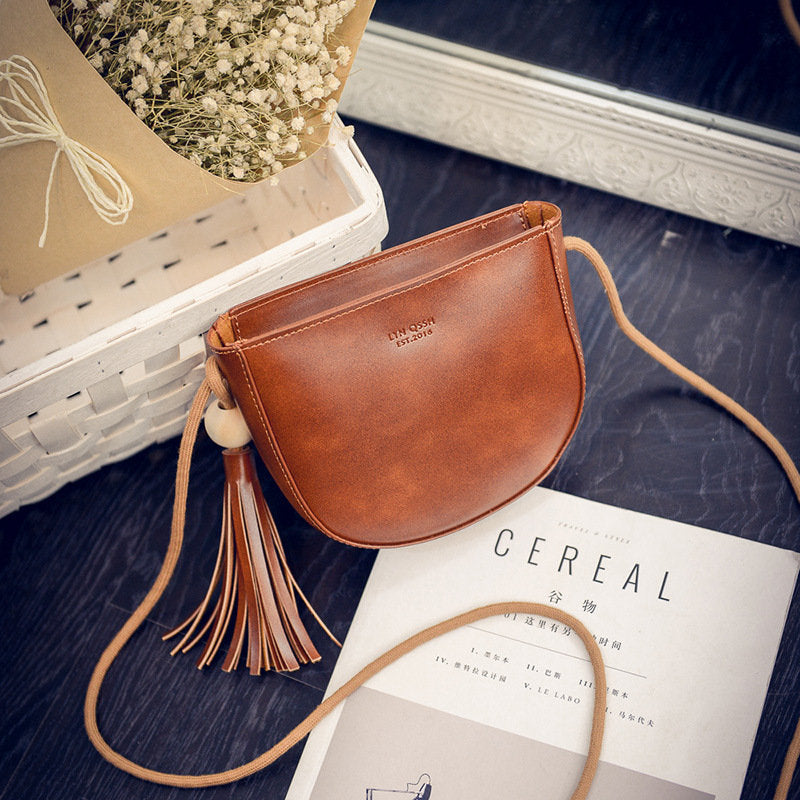 Women Sweet Tassel Oil Leather Crossbody Bag Casual Phone Bag