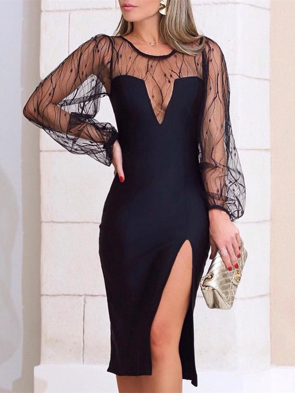Black Sexy Plus Size Mesh Overlay Long Sleeve Evening Gowns Bodycon Dress Rikkishop