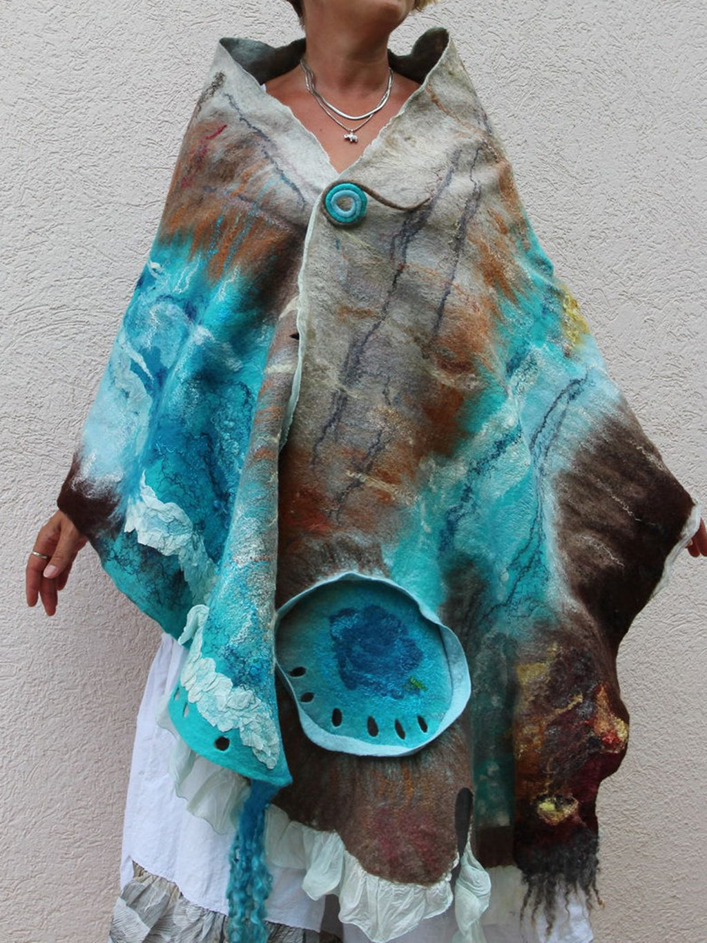 Blue Casual Paneled Ombre/tie-Dye Scarves & Shawls
