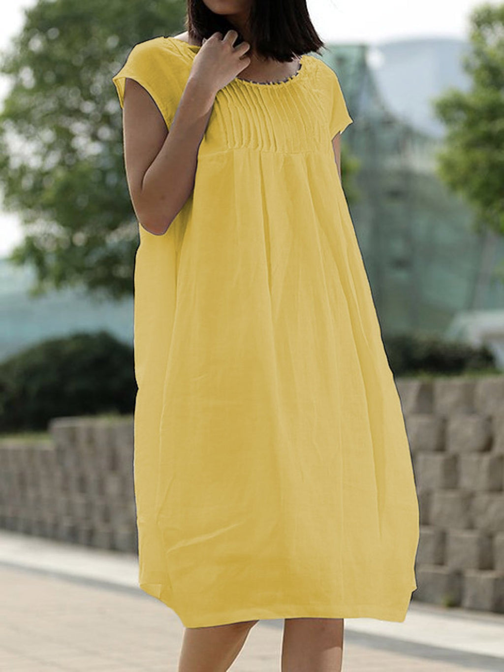 Summer Dress Pockets Pleated Details Cocoon Dresses