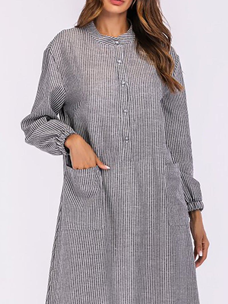 Basic Cotton Paneled Casual Dress