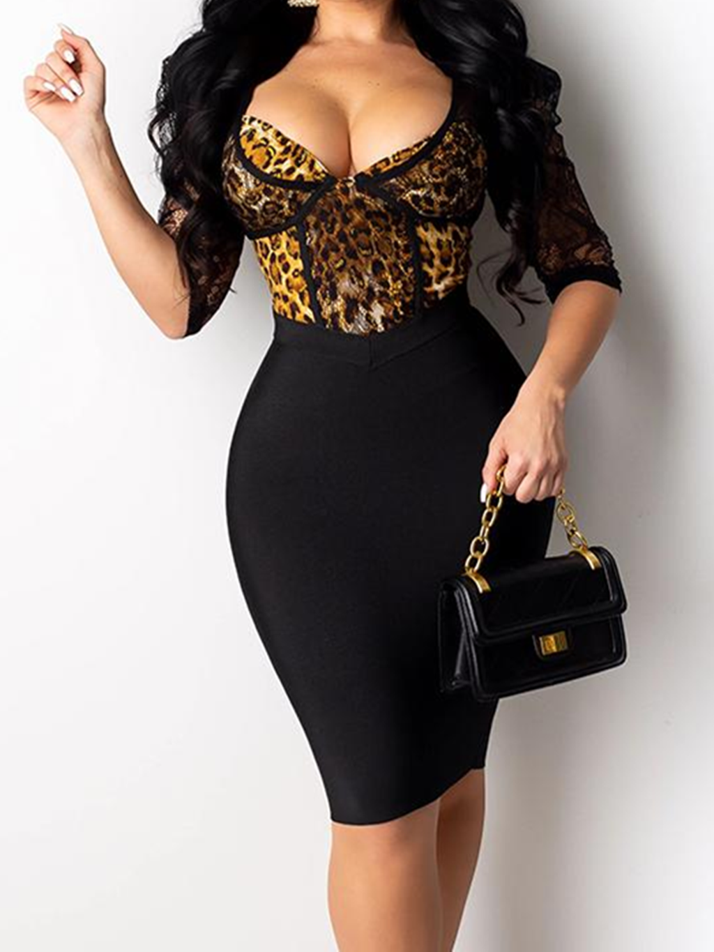 Black Sheath Patchwork Sexy Bodycon Dresses Rikkishop