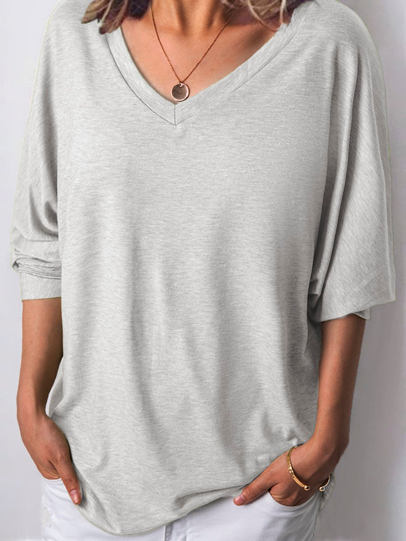 Women Long Sleeves V Neck  Loose-Ness Fit Shirt Top Tunic Rikkishop