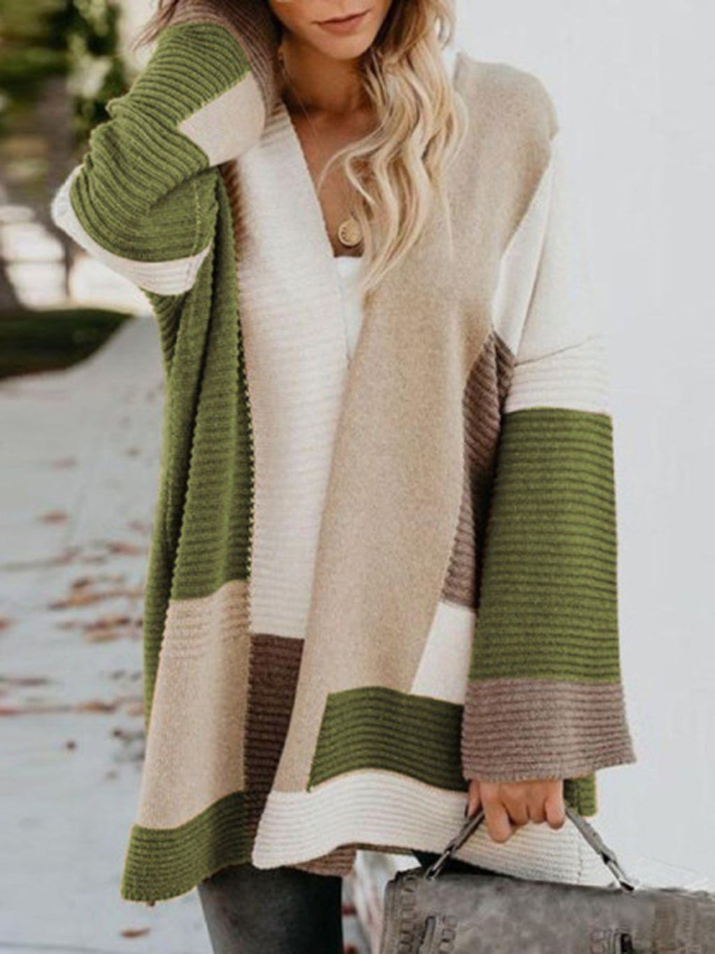 Plus Size Color Block Women 2019 Long Knitted Cardigan