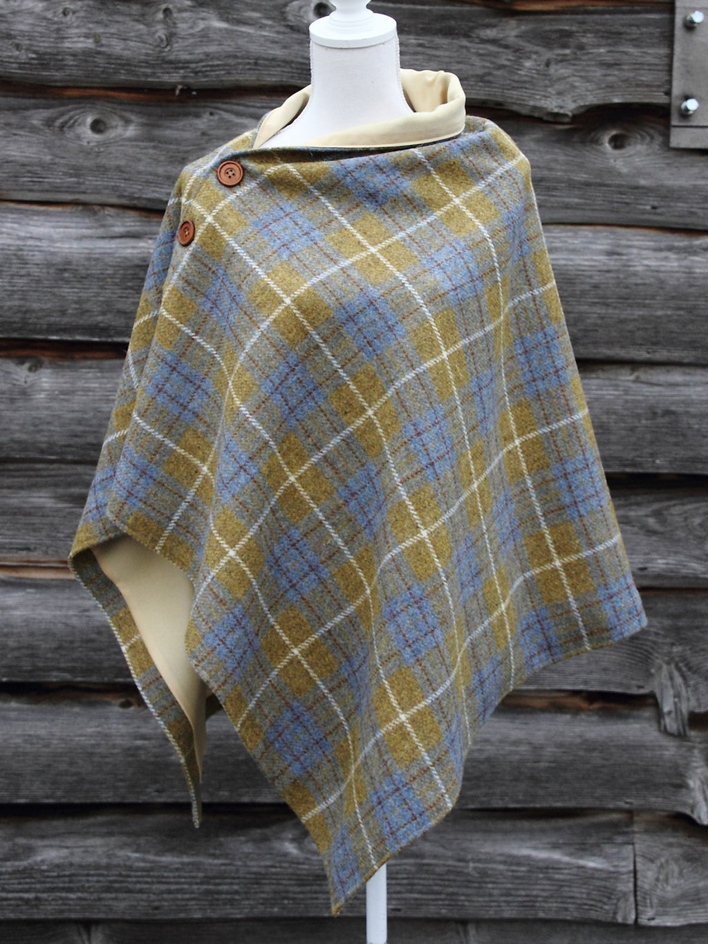 Yellow Cotton-Blend Casual Plaid Scarves & Shawls