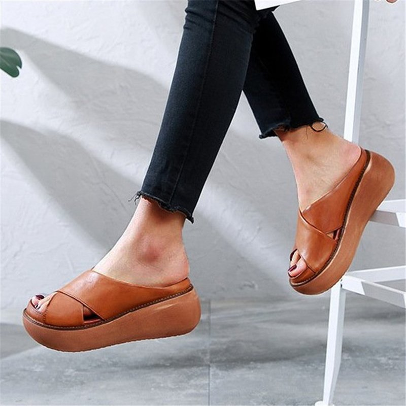 Platform Open Toe Comfy Slippers Casual Slide Sandals