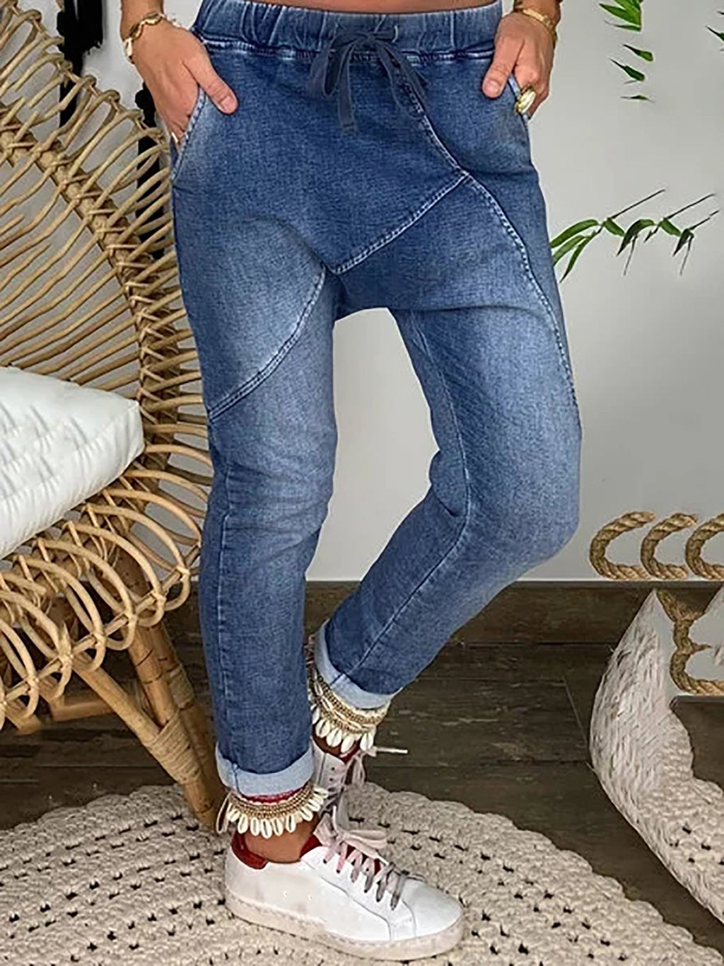 Elastic Waist Casual Denim Pants
