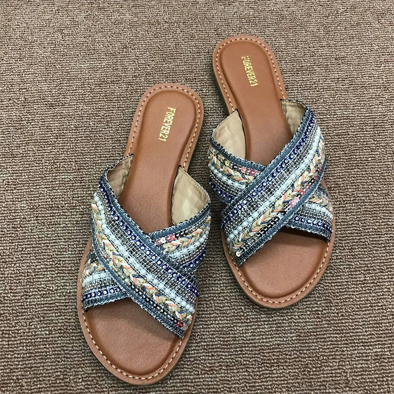 Women Crisscross Buckle Microfiber Leather Spring/fall Beach Slippers