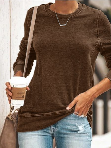 Round Neck Long Sleeve Casual Cotton-Blend Shirts & Tops