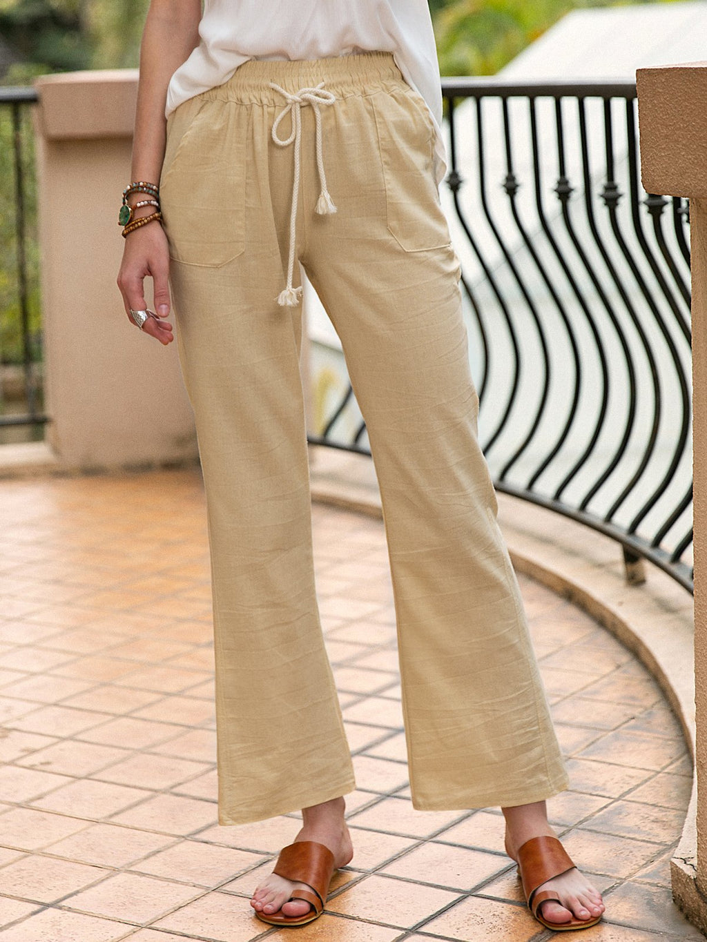 Women Casual Lace Up Plain Linen Pants