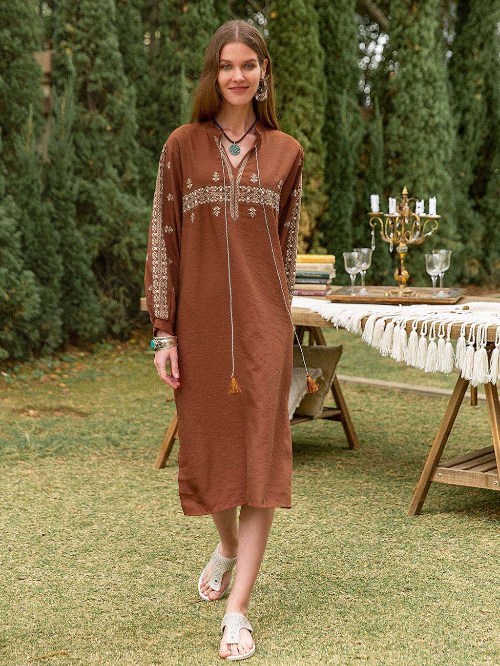 Women Linen Long Sleeve Tasseled Tie Dresses