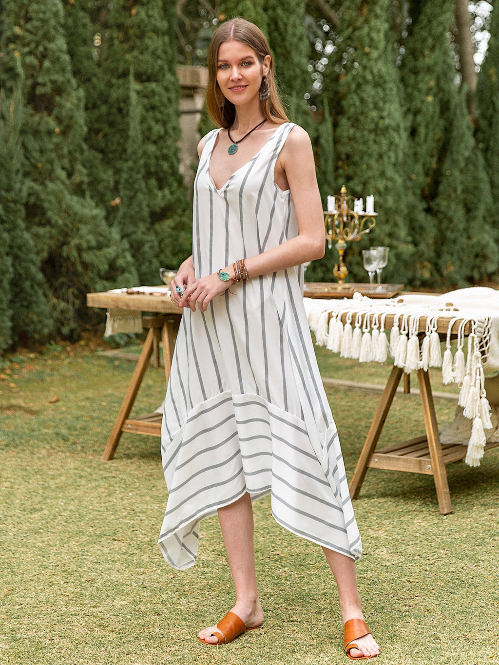 Women Casual V Neck Asymmetric Striped Dresses