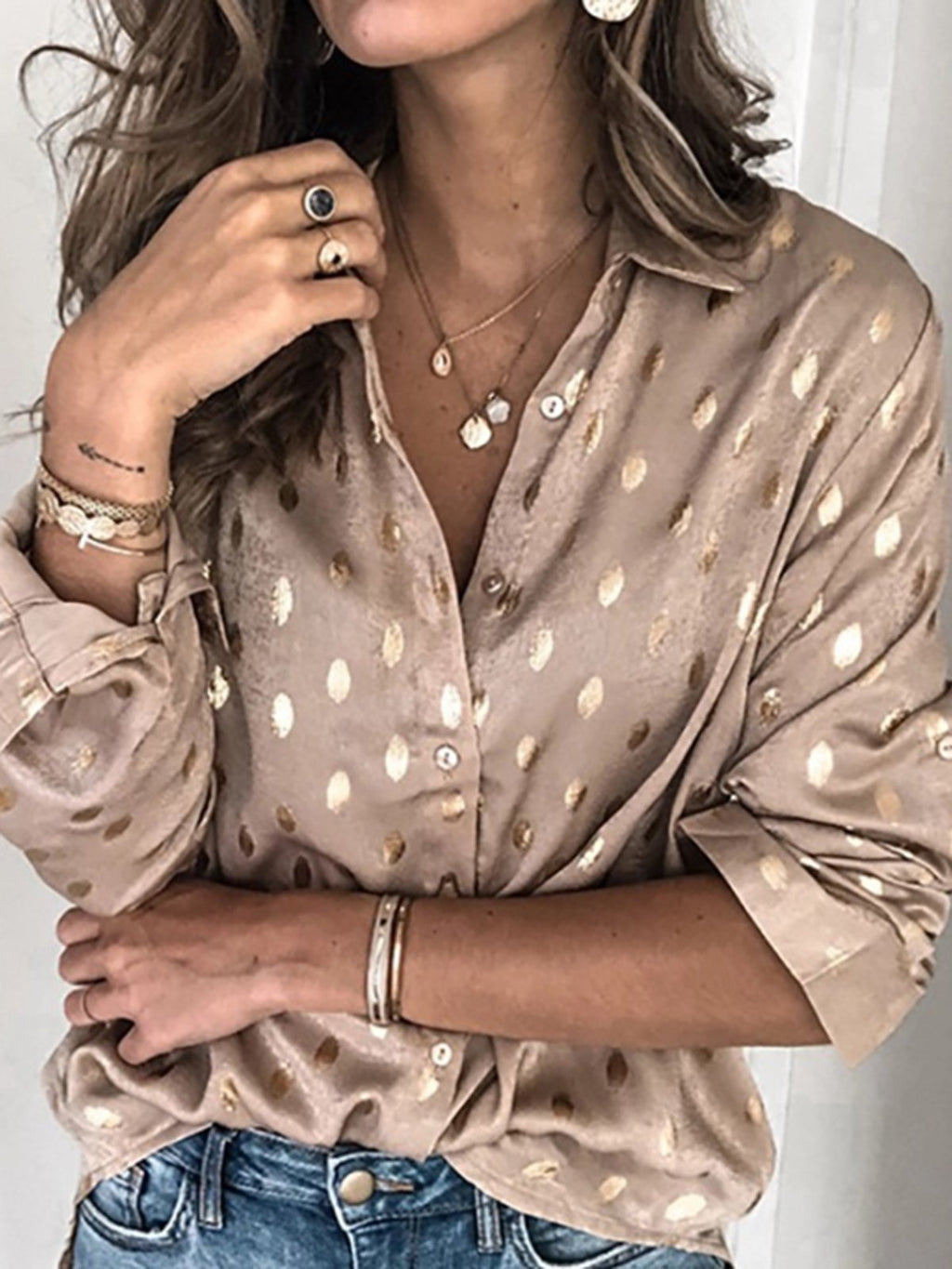 Khaki Long Sleeve V Neck Polka Dots Shirts & Tops