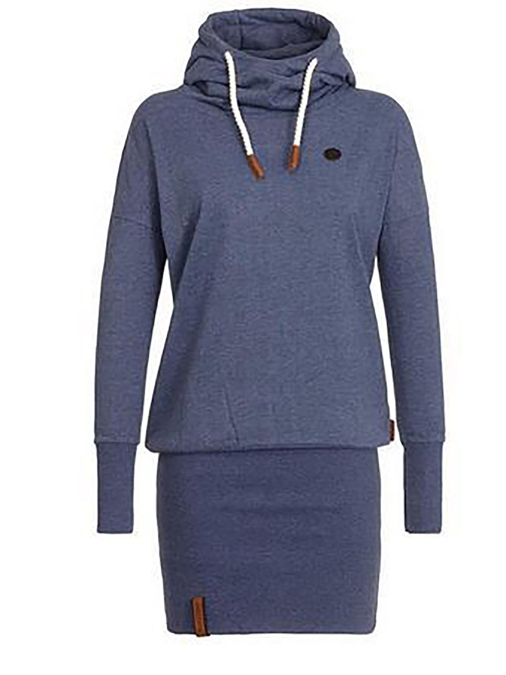 Navy Blue Basic Shift Casual hoodie Dress