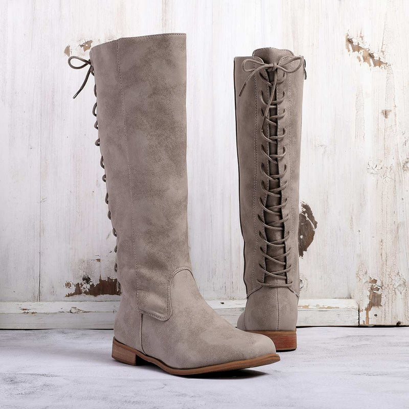 Womens Zipper Chunky Heel Artificial Suede Knee Boots