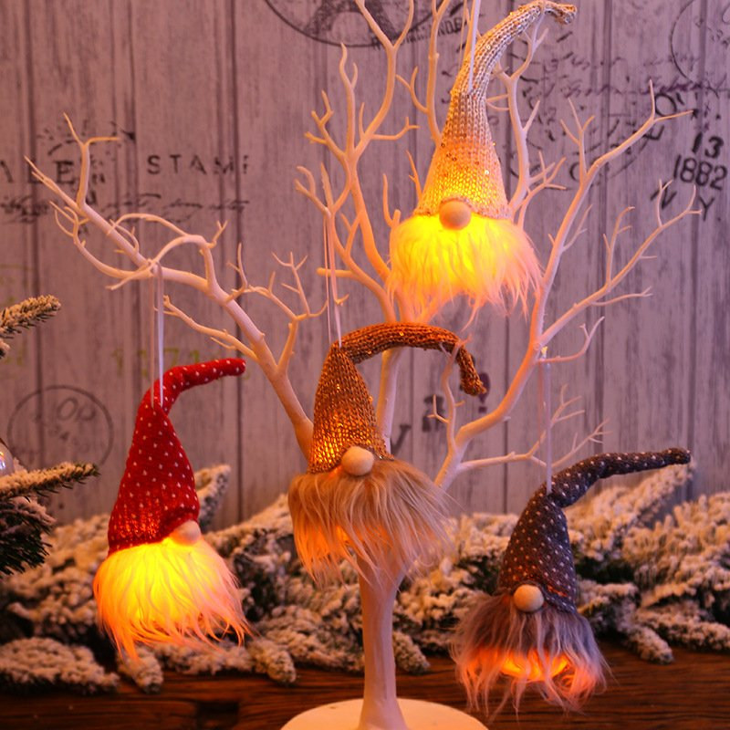 Christmas Lighted Forest Man Christmas Tree Decoration Pendant Night Lights Illuminated Festive Home Furnishing Hanging Ornaments