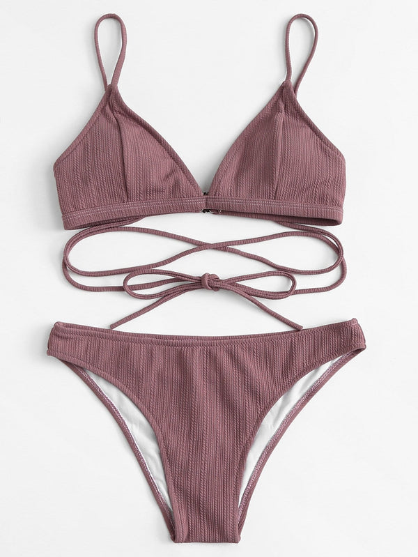 VF Self Tie Top With Textured Bikini Set - Vogue Forest