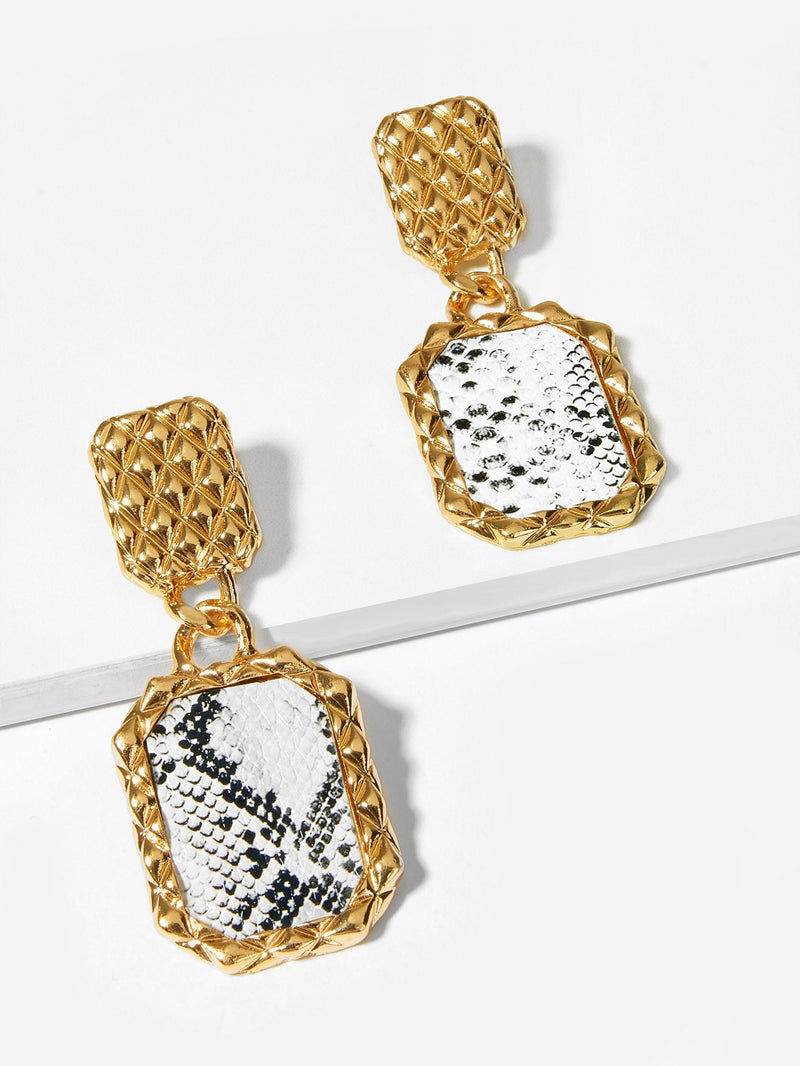 VF Snakeskin Pattern Textured Drop Earrings - Vogue Forest