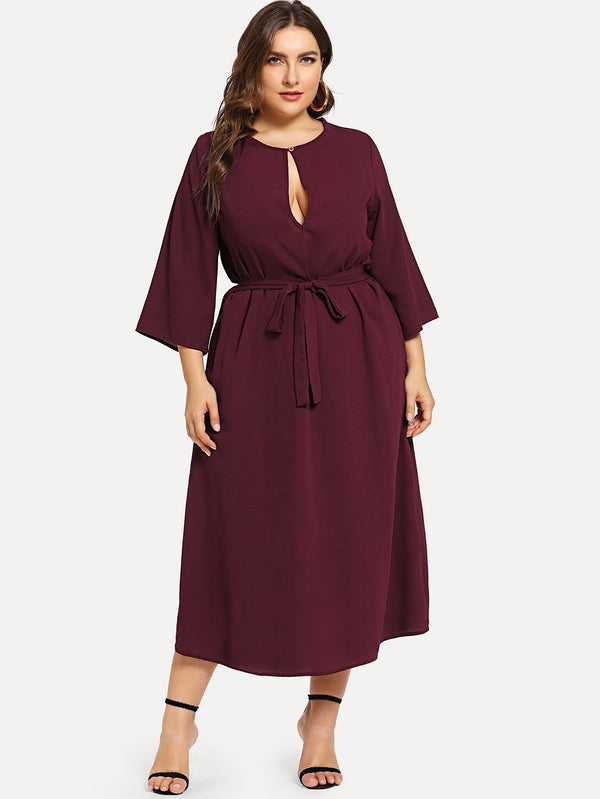VF Plus Self Belted Slit Cut Front Dress - Vogue Forest