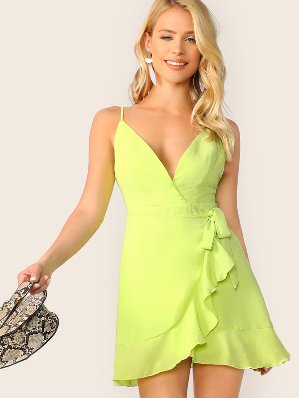 VF Neon Lime Tie Waist Surplice Wrap Cami Dress - Vogue Forest