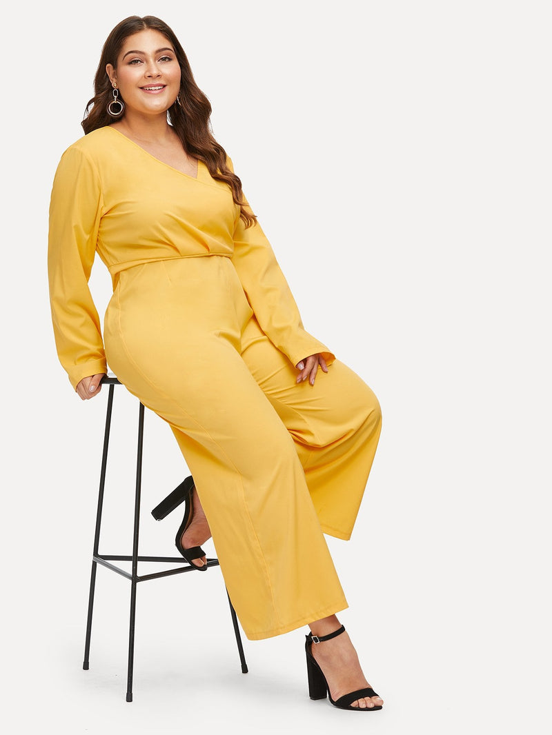 VF Plus Wrap Front Wide Leg Jumpsuit - Vogue Forest