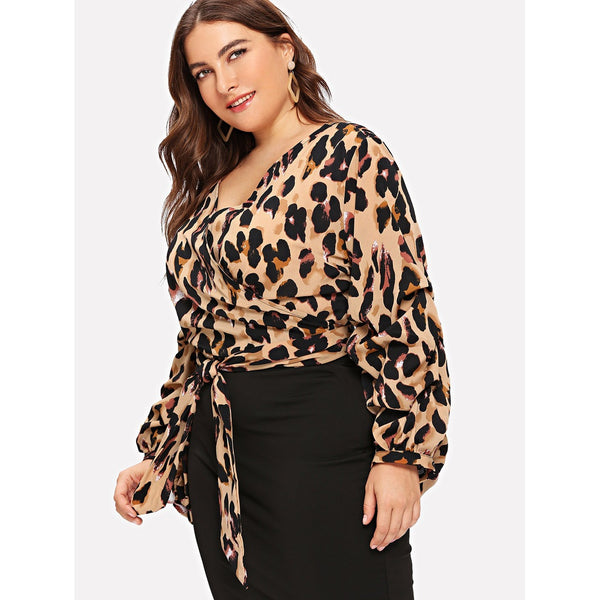 VF Plus Leopard Print Top - Vogue Forest
