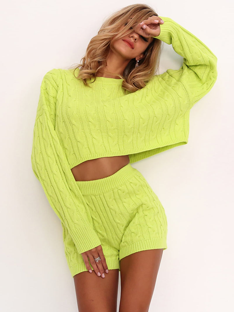 VF Drop Shoulder Cable Knit Sweater & Shorts Set - Vogue Forest