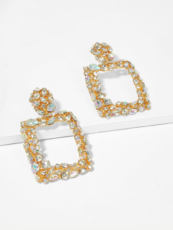 VF Rhinestone Engraved Square Drop Earrings - Vogue Forest