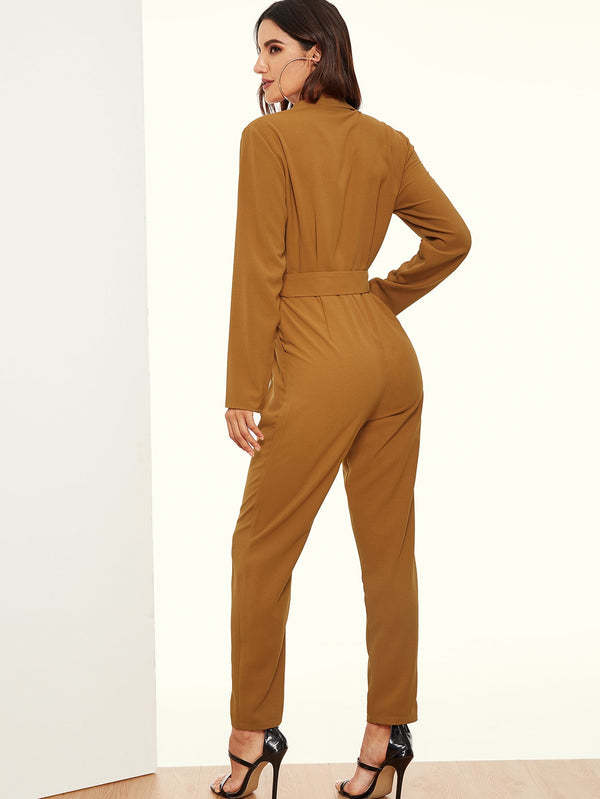 VF Notched Collar Double Button Plunging Jumpsuit - Vogue Forest