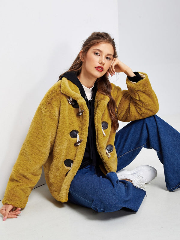 VF Drop Shoulder Faux Fur Duffle Coat - Vogue Forest
