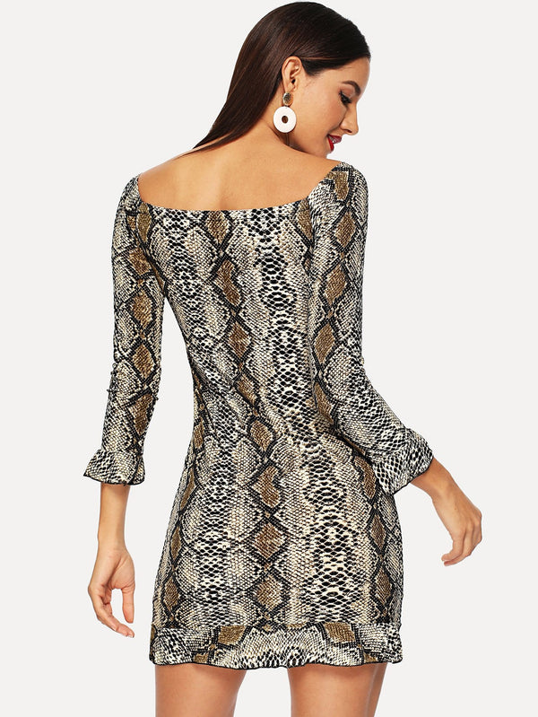 VF Off Shoulder Snake Print Dress - Vogue Forest