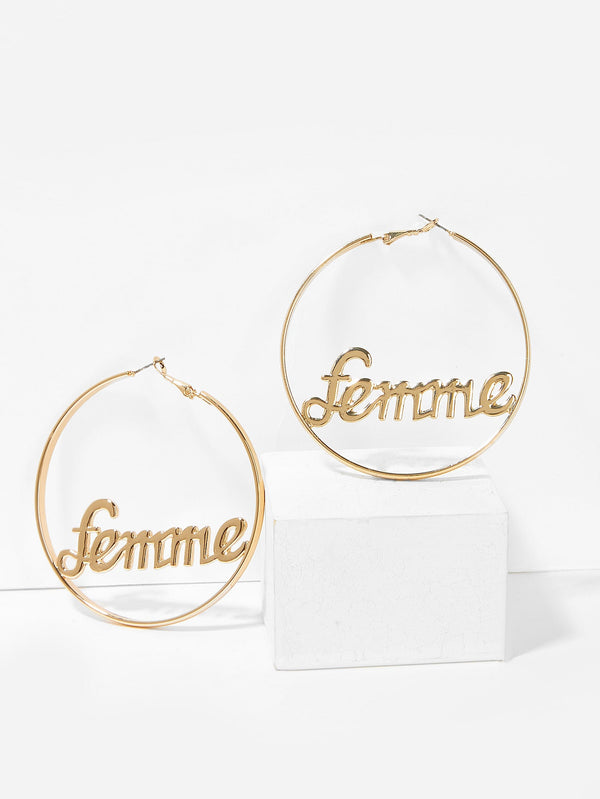 VF Letter Decorated Hoop Earrings - Vogue Forest