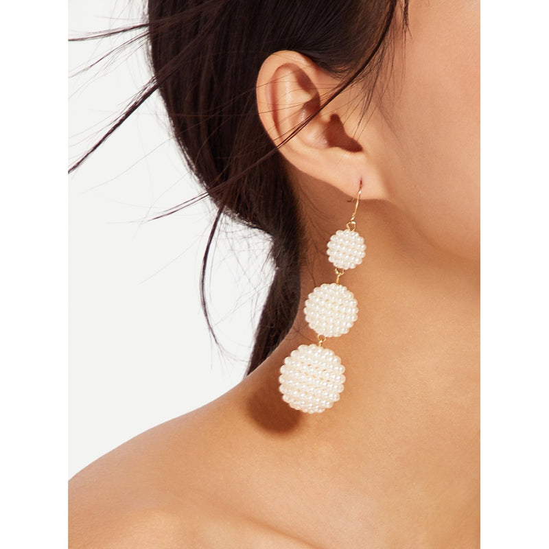 VF Faux Pearl Ball Drop Earrings - Vogue Forest