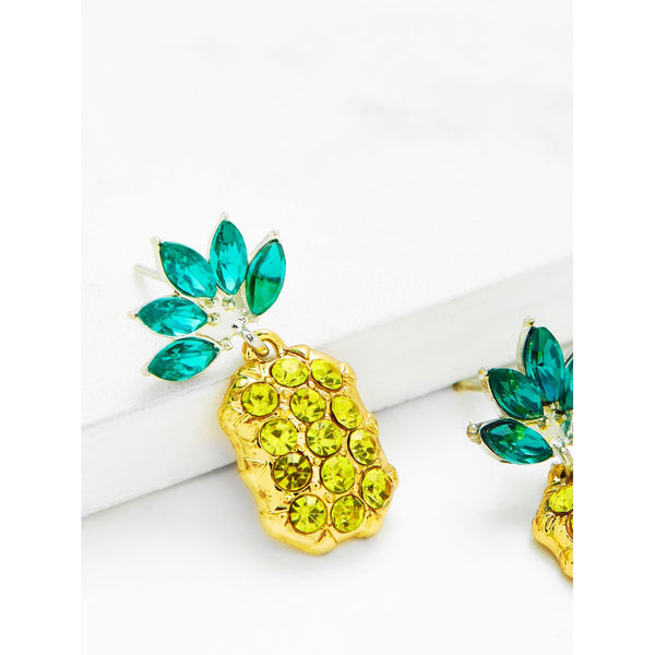 VF Rhinestone Overlay Pineapple Shaped Earrings - Vogue Forest