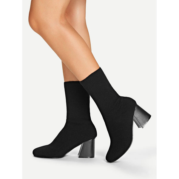 VF Block Heeled Knit Sock Boots - Vogue Forest