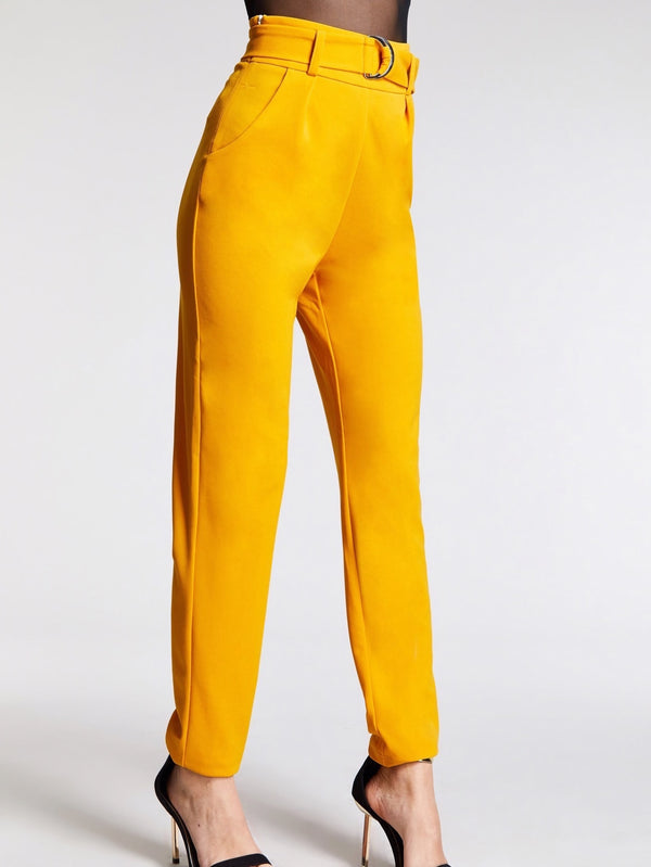 VF Slant Pocket Solid Belted Straight Leg Pants