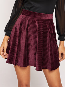 VF Pleated Solid Cord Skirt - Vogue Forest