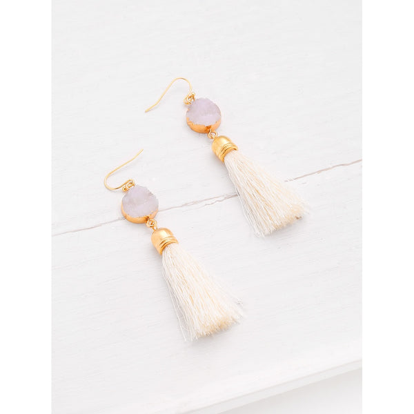 VF Crystal Detail Tassel Drop Earrings - Vogue Forest