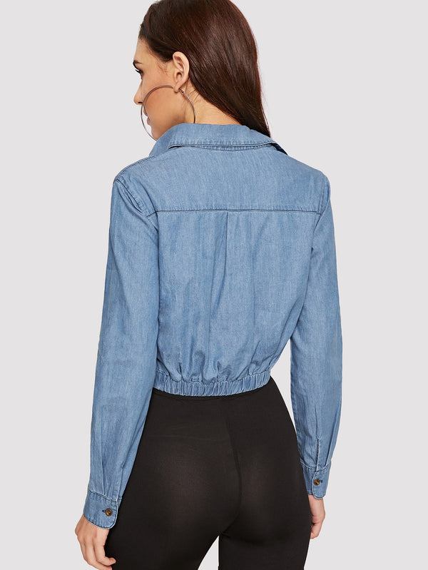 VF Twist Hem Crop Denim Shirt - Vogue Forest