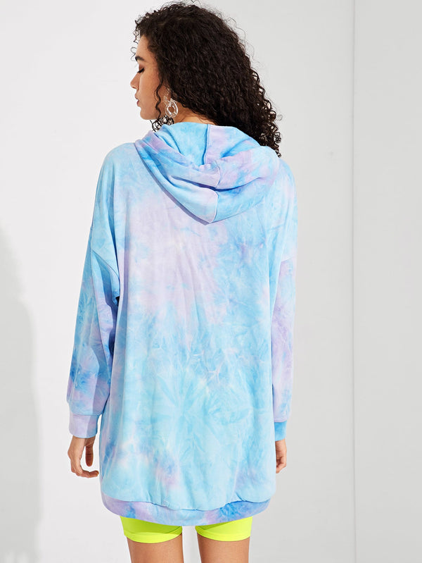 VF Drop Shoulder Tie Dye Drawstring Hoodie - Vogue Forest