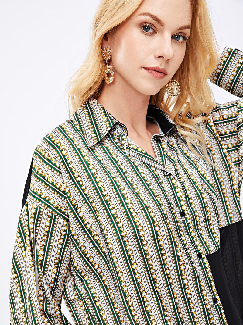 VF Contrast Panel Chain Print Blouse - Vogue Forest